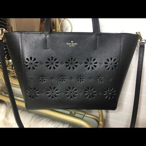 Kate Spade Leather Laser Cut Floral Black Purse
